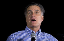 Republican presidential candidate, former Massachusetts Gov. Mitt Romney speaks  during a campaign rally on Friday, Oct. 19, 2012 in Daytona Beach, Fla.  (AP Photo/ Evan Vucci)