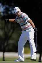 Stephen Morton | The Associated Press Tommy Gainey reacts after hitting a birdie putt on the 16th green during the final round of the McGladrey Classic PGA Tour golf tournament Sunday, Oct. 21, 2012 in St. Simons Island, Ga. (AP Photo/Stephen Morton)