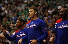 Ashley Detrick  |  The Salt Lake Tribune The Clippers' Blake Griffin reacts to a call in the second half of the game against the Clippers on Saturday, Oct. 20, 2012 at Energy Solutions in Salt Lake City. The Jazz beat the Clippers, 99-91.
