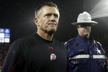 Chris Detrick  |  The Salt Lake Tribune Utah Utes head coach Kyle Whittingham walks off of the field after the game at Reser Stadium Saturday October 20, 2012. Oregon State won the game 21-7.