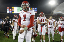 Chris Detrick  |  The Salt Lake Tribune Utah Utes quarterback Travis Wilson (7) walks off of the field after the game at Reser Stadium Saturday October 20, 2012. Oregon State won the game 21-7.