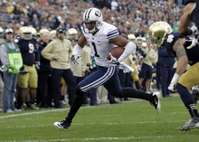 BYU wide receiver Ross Apo runs after making a catch against the Notre Dame during the first half of an NCAA college football game in South Bend, Ind., Saturday, Oct. 20, 2012. (AP Photo/Michael Conroy)