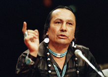 Marcy Nighswander  |  Associated Press file photo FILE - In a Jan. 31, 1989 file photo, Russell Means, who heads the American Indian Movement, (AIM) testifies before a special investigative committee of the Senate Select Committee on Capitol Hill, in Washington. Means, a former American Indian Movement activist who helped lead the 1973 uprising at Wounded Knee, reveled in stirring up attention and appeared in several Hollywood films, died early Monday, Oct. 22, 2012 at his ranch Zzxin Porcupine, S.D., Oglala Sioux Tribe spokeswoman Donna Solomon said. He was 72. (AP Photo/