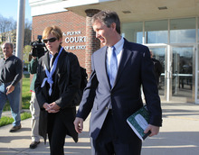 FILE - In a Thursday,  April 12, 2012 file photo, Douglas Kennedy, right, son of the late Sen. Robert F. Kennedy, arrives early to a locked door at village court in Mount Kisco, N.Y. Kennedy is in court Monday, Oct. 22, 2012 in Mount Kisco, N.Y on charges of physical harassment and child endangerment for trying to take his newborn son out of a hospital without permission on Jan. 7. A New York prosecutor says Kennedy kicked a nurse to the floor as he tried take his newborn son out of a hospital.  But a defense lawyer says Douglas Kennedy acted instinctively to protect the baby. (AP Photo/The Journal News, Xavier Mascareñas)  NYC METRO OUT; TV OUT; MAGS OUT, NO SALES    ( AP Photo/The Journal News, Xavier Mascareñas, File) NYC METRO OUT; TV OUT; MAGS OUT, NO SALES