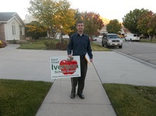 Chad Iverson campaigns door-to-door in local neighborhoods for the Canyons school board precinct 7 position. He is running against incumbent Paul McCarty. (Courtesy image)