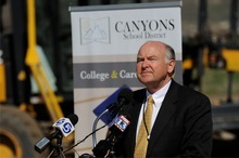 Canyons school board member Paul McCarty at a recent groundbreaking ceremony in Draper. McCarty campaigns to hold his precinct 7 seat against Chad Iverson. (Courtesy of Canyons Communication)