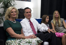 Republican presidential candidate, former Massachusetts Gov. Mitt Romney, second from left, and his wife Ann, left, sits in a holding room with his family before he participates in the third presidential debate with President Barack Obama on Monday, Oct. 22, 2012 in Boca Raton, Fla.  (AP Photo/ Evan Vucci)