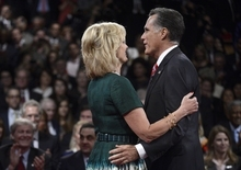 Republican presidential nominee Mitt Romney and his wife Ann Romney embrace after the third presidential debate at Lynn University, Monday, Oct. 22, 2012, in Boca Raton, Fla. (AP Photo/Pool-Michael Reynolds)