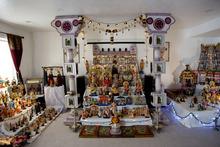 Kim Raff | The Salt Lake Tribune Madhu Gundlapalli's doll display on her home shrine for the Hindu Navratri festival in Alpine, Utah, on Oct. 17, 2012.
