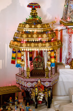 Kim Raff | The Salt Lake Tribune A handmade structures by Madhu Gundlapalli's father, Narayanan,  on display in her home shrine for the Hindu Navratri festival in Alpine, Utah, on Oct. 17, 2012.