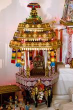 Kim Raff | The Salt Lake Tribune A handmade structures by Madhu Gundlapalli's father, Narayanan,  on display in her home shrine for the Hindu Navratri festival in Alpine, Utah, on Oct. 17, 2012.