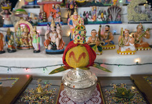 Kim Raff | The Salt Lake Tribune Kalasam, which is the centerpiece to Madhu Gundlapalli's doll display on her home shrine for the Hindu Navratri festival in Alpine, Utah, on Oct. 17, 2012.