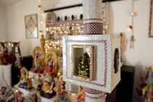 Kim Raff | The Salt Lake Tribune Hand-made structures by Madhu Gundlapalli's father, Narayanan,  on display in her home shrine for the Hindu Navratri festival in Alpine, Utah, on Oct. 17, 2012.