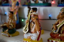 Kim Raff | The Salt Lake Tribune A doll representing the originators of classical Indian music that is part of Madhu Gundlapalli's doll display on her home shrine for the Hindu Navratri festival in Alpine, Utah, on Oct. 17, 2012.