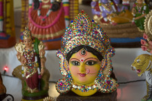 Kim Raff | The Salt Lake Tribune A doll of Durga, believed to be the destroyer of evil, that is part of Madhu Gundlapalli's doll display on her home shrine for the Hindu Navratri festival in Alpine, Utah, on Oct. 17, 2012.