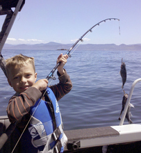 (Submitted by Gil Garcia)  Colton Garcia, 6, caught his first fish two at a time while fishing off shore from Gold Beach, Ore., with his grandpa Gil and dad Dustin.