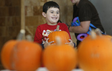 Scott Sommerdorf  |  The Salt Lake Tribune               Christian Flores, 6, beams after choosing his pumpkin as children at the Kauri Sue Hamilton School in Riverton got a special Halloween delivery from an unlikely source, Monday, Oct. 21, 2012. More than 3,500 pumpkins harvested, gathered, and cleaned by Utah State Prison inmates in the Utah State Prison's Greenhouse program were donated to various organizations that serve children.