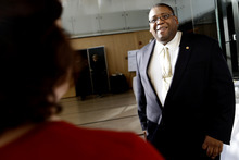 National Highway Traffic Safety Administration Administrator David Strickland talks to members of the media  at the House of Sweden in Washington, Tuesday, Oct. 23, 2012, after  speaking at a seminar about policy implications of autonomous vehicles, (AP Photo/Jacquelyn Martin