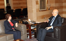 In this photo released by Lebanon's official government photographer, Dalati Nohra, the Lebanese Prime Minister Najib Mikati, right, meets with EU foreign policy chief Catherine Ashton at the Lebanese government palace, in Beirut, Lebanon, on Tuesday Oct. 23, 2012. (AP Photo/Dalati Nohra, HO)