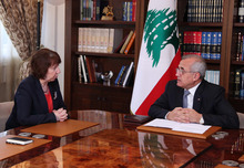 In this photo released by Lebanon's official government photographer Dalati Nohra, EU foreign policy chief Catherine Ashton, left, meets with Lebanese President Michel Suleiman, at the Lebanese Presidential palace, in the Baabda neighborhood, east of Beirut, Lebanon,  Tuesday Oct. 23, 2012. Ashton is on a one-day visit to Lebanon to meet with officials. (AP Photo/Dalati Nohra)