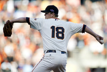San Francisco Giants starting pitcher Matt Cain (18) delivers against the St. Louis Cardinals during Game 7 of baseball's National League championship series, Monday, Oct. 22, 2012, in San Francisco. (AP Photo/The Sacramento Bee, Paul Kitagaki Jr.)  MAGS OUT; LOCAL TV OUT (KCRA3, KXTV10, KOVR13, KUVS19, KMAZ31, KTXL40); MANDATORY CREDIT