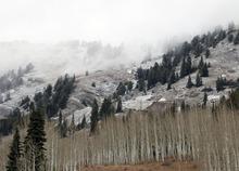 Al Hartmann  |  The Salt Lake Tribune High peaks above Alta received a skiff of snow from last night's storm.