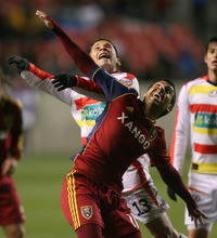 Steve Griffin | The Salt Lake Tribune   Real Salt Lake's Javier Morales battles C.S. Herediano's Elias Aguilar during first half action of the their CONCACAF match at Rio TInto Stadium in Sandy, Utah Tuesday October 23, 2012.