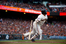 San Francisco Giants' Pablo Sandoval (48) watches his solo home run against the Detroit Tigers in the first inning during Game 1 of baseball's World Series on Wednesday, Oct. 24, 2012, in San Francisco. (AP Photo/The Sacramento Bee, Jose Luis Villegas) MAGS OUT; TV OUT (KCRA3, KXTV10, KOVR13, KUVS19, KMAZ31, KTXL40) MANDATORY CREDIT