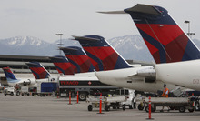 Trent Nelson  |  The Salt Lake Tribune Delta said an increase in revenue was driven by its effort to trim seats according to demand. As it scaled back capacity, flights were slightly fuller.