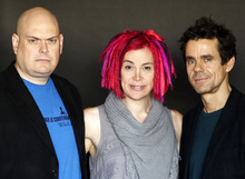 This Oct. 14, 2012 photo shows directors-screenwriters Andy Wachowski, left, Lana Wachowski, center, and Tom Tykwer, from the upcoming film