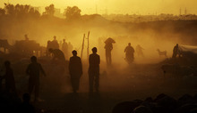 Pakistanis walk in a livestock market set up in a field, for the upcoming Muslim holiday of Eid al-Adha, or