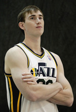 Utah Jazz's Gordon Hayward poses for a photograph during the NBA basketball team's media day, Monday, Oct. 1, 2012, in Salt Lake City. (AP Photo/Rick Bowmer)
