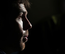 Detroit Tigers' Doug Fister answers reporters questions before a workout for baseball's World Series Tuesday, Oct. 23, 2012, in San Francisco. The Tigers play the San Francisco Giants in Game 1 on Wednesday, Oct. 24. (AP Photo/Charlie Riedel)