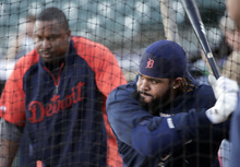 Detroit Tigers' Prince Fielder takes batting practice during a workout for baseball's World Series Tuesday, Oct. 23, 2012, in San Francisco. The Tigers play the San Francisco Giants in Game 1 on Wednesday, Oct. 24. (AP Photo/Charlie Riedel)