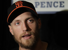 San Francisco Giants' Hunter Pence answers a reporters question before a workout for baseball's World Series Tuesday, Oct. 23, 2012, in San Francisco. The Tigers play the San Francisco Giants in Game 1 on Wednesday, Oct. 24. (AP Photo/Eric Risberg)