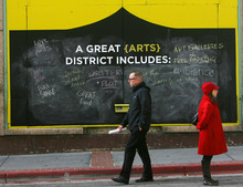 Steve Griffin | The Salt Lake Tribune Three, 8-foot chalkboards have been erected on Regent Street between 100 and 200 South in Salt Lake City, asking the public to complete the following sentences: -I hope the new Performing Arts Center will… -A great arts district includes… -The best thing about this area is…  It is the site of an urban intervention exercise aimed at gathering input on the new Utah Performing Arts Center and the changes it will bring to downtown. All of the responses posted on the boards are being gathered and included in a widespread public engagement effort that will inform and shape upcoming decisions about the city's new performing arts venue.  Wednesday October 24, 2012.