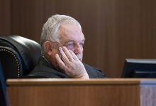 Paul Fraughton | The Salt Lake Tribune Judge Donald Eyre listens to attorneys before sentencing Roberto Roman. Roman was acquitted of the murder of Millard County Deputy Josie Fox, but was found guilty of tampering with evidence and possession of a dangerous weapon by a restricted person.  Wednesday, October 24, 2012