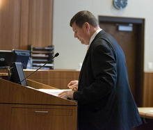 Paul Fraughton | The Salt Lake Tribune Assistant Attorney General, Patrick Nolan argues before Judge Donald Eyre that the maximum sentence be given to Roberto Roman. Roman was acquitted of the murder of Millard County Deputy Josie Fox, but was found guilty of tampering with evidence and possession of a dangerous weapon by a restricted person.  Wednesday, October 24, 2012