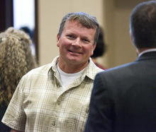 Paul Fraughton | The Salt Lake Tribune After the sentencing of Roberto Roman, Douglas Fox, husband of Josie Fox, manages to smile. Roman was acquitted of the murder of Millard County Deputy Josie Fox, but was found guilty of tampering with evidence and possession of a dangerous weapon by a restricted person.  Wednesday, October 24, 2012
