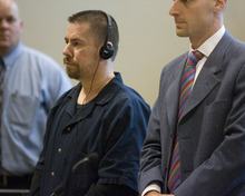 Paul Fraughton | The Salt Lake Tribune Roberto Roman stands at his sentencing as he listens on headphones to Judge Donald Eyre's words being translated into Spanish. Roman was acquitted of the murder of Millard County Deputy Josie Fox, but was found guilty of tampering with evidence and possession of a dangerous weapon by a restricted person.  Wednesday, October 24, 2012