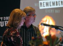Al Hartmann  |  The Salt Lake Tribune Susan and Tim Strebel of South Jordan speak to people at the
