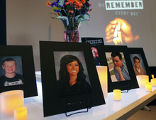 Al Hartmann  |  The Salt Lake Tribune Photos with memorial candles of teens killed in traffic accidents at the