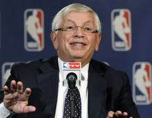 NBA Commissioner David Stern speaks during a basketball news conference following Board of Governors meetings in New York, Thursday, Oct. 25, 2012. Stern announced he will retire on Feb. 1, 2014, 30 years after he took charge of the league. He will be replaced by Deputy Commissioner Adam Silver. (AP Photo/Kathy Willens)
