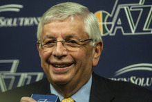 Tribune file photo NBA Commissioner David Stern, shown here at a press conference in Salt Lake City in April, will retire in February 2014, 30 years after he took charge of the league.