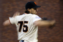 San Francisco Giants starting pitcher Barry Zito (75) delivers against the Detroit Tigers during Game 1 of baseball's World Series, Wednesday, Oct. 24, 2012, in San Francisco. (AP Photo/The Sacramento Bee, Paul Kitagaki Jr.)  MAGS OUT; LOCAL TV OUT (KCRA3, KXTV10, KOVR13, KUVS19, KMAZ31, KTXL40); MANDATORY CREDIT