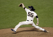San Francisco Giants' Tim Lincecum throws during the sixth inning of Game 1 of baseball's World Series against the Detroit Tigers Wednesday, Oct. 24, 2012, in San Francisco. (AP Photo/Eric Risberg)