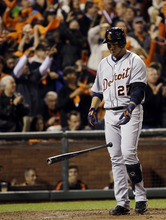 Detroit Tigers' Jhonny Peralta reacts after striking out during the sixth inning of Game 1 of baseball's World Series against the San Francisco Giants Wednesday, Oct. 24, 2012, in San Francisco. (AP Photo/David J. Phillip)