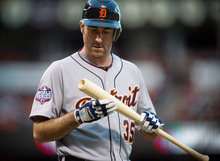 Detroit Tigers starting pitcher Justin Verlander checks his bat after fouling out to San Francisco Giants first baseman Brandon Belt during the third inning in Game 1 of baseball's World Series on Wednesday, Oct. 24, 2012, in San Francisco. (AP Photo/The Sacramento Bee, Jose Luis Villegas) MAGS OUT; TV OUT (KCRA3, KXTV10, KOVR13, KUVS19, KMAZ31, KTXL40) MANDATORY CREDIT