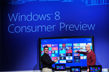 Steven Sinofsky, president of Windows and Windows Live Division, and Corporate Vice President, Windows Planning, Hardware & PC Ecosystem, Mike Angiulo highlight the Windows 8 Metro style UI at the Windows 8 Consumer Preview event in Barcelona, Spain. February 29, 2012. Courtesy image.