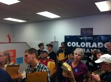Igor Limansky, Utah state director of Obama For America, briefs Utah volunteers before they head out to knock on doors in Grand Junction, Colo., over the past weekend. Both parties have been sending scores of volunteers into neighboring battleground states, trying to deliver a victory that could determine who controls the White House. (Courtesy Lorianne Bisping)